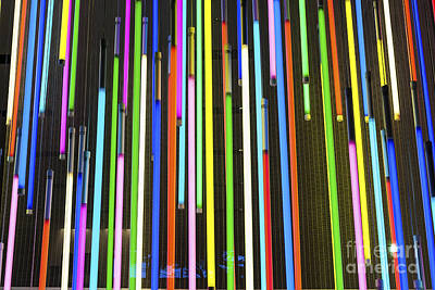 Photograph - Colorful Neon Bulbs In Abstract Arrangemet by Jacek Malipan