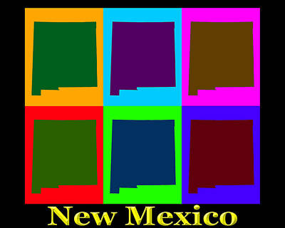 Design Turnpike Books - Colorful New Mexico Pop Art Map by Keith Webber Jr