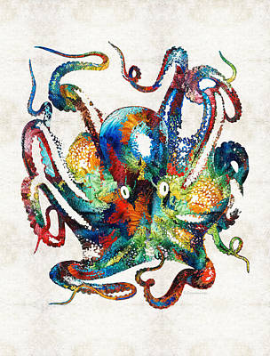 Rainbow Wall Art - Painting - Colorful Octopus Art By Sharon Cummings by Sharon Cummings