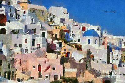 Painting - Colorful  Oia In Santorini Island by George Atsametakis