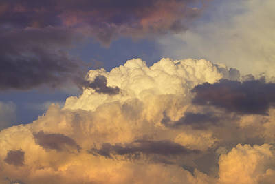 Photograph - Colorful Orange Magenta Storm Clouds At Sunset Fine Art Print by Keith Webber Jr