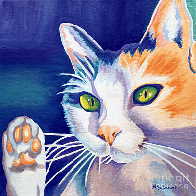 Painting - Colorful Orange White Cat by Robyn Saunders