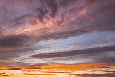 Photograph - Colorful Orange Yellow Clouds At Sunset Fine Art Print by Keith Webber Jr