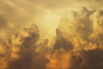 Photograph - Colorful Orange Yellow Storm Clouds At Sunset  by Keith Webber Jr