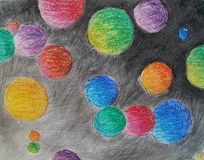 Art Print featuring the drawing Colorful Orbs by Thomasina Durkay