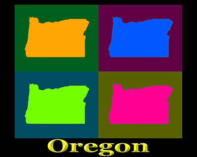 Oregon State Wall Art - Photograph - Colorful Oregon Pop Art Map by Keith Webber Jr