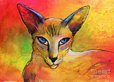 Colorful Oriental Shorthair Cat Painting Art Print