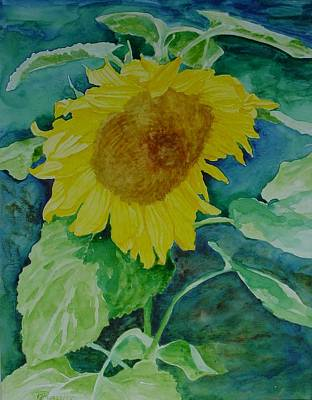 Painting - Colorful Original Watercolor Sunflower by Elizabeth Sawyer