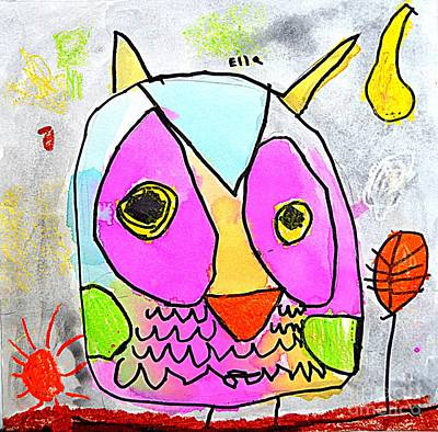 Painting - colorful Owl by Greg Moores
