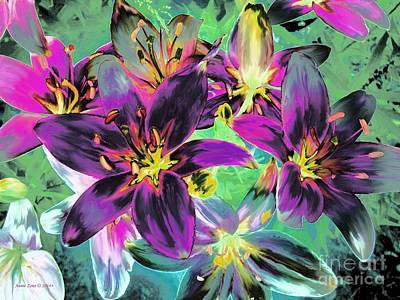 Painting - Colorful Painterly Tiger Lilies by Annie Zeno