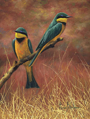 Bees Painting - Colorful Pair by Lucie Bilodeau