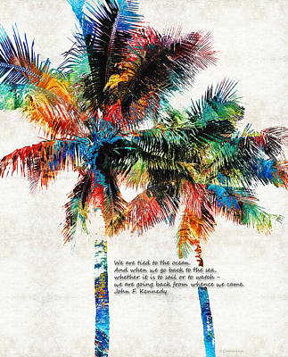Colorful Palm Trees - Returning Home - By Sharon Cummings Art Print by Sharon Cummings