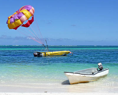Colorful Parachute - Waiting To Parasail Art Print by Val Miller
