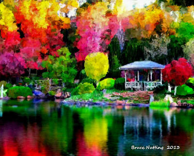 Art Print featuring the painting Colorful Park At The Lake by Bruce Nutting