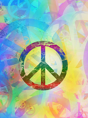 Colorful Peace Background Art Print by Modern Art Prints