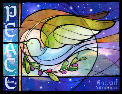 Digital Art - Colorful Peace Dove by Randy Wollenmann