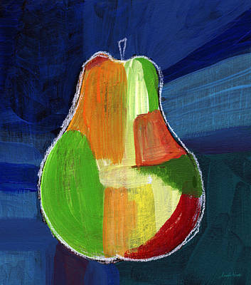 Food And Beverage Royalty-Free and Rights-Managed Images - Colorful Pear- Abstract Painting by Linda Woods