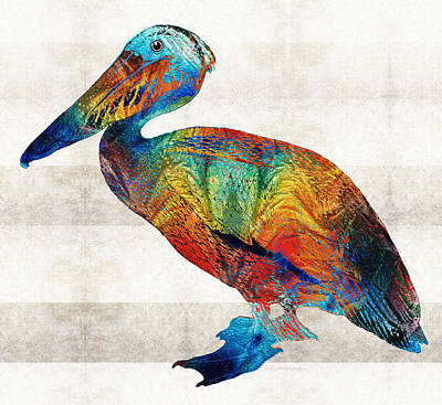 Colorful Pelican Art By Sharon Cummings Print by Sharon Cummings