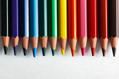 Pencil Photograph - Colorful Pencils Arranged As A Color Pallete by Michal Bednarek