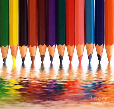 Arrangement Photograph - Colorful Pencils With Abstract Reflection by Michal Bednarek