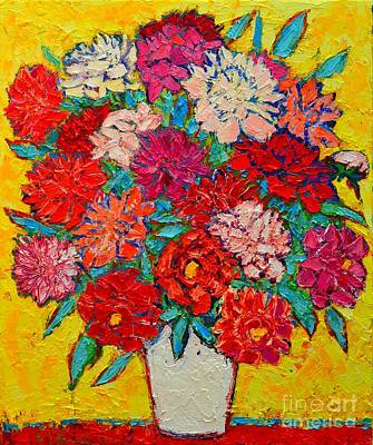 Vivid Colour Painting - Colorful Peonies by Ana Maria Edulescu