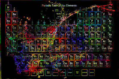 Atomic Mixed Media - Colorful Periodic Table Of The Elements On Black With Water Splash by Eti Reid