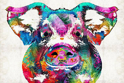 Colorful Pig Art - Squeal Appeal - By Sharon Cummings Print by Sharon Cummings