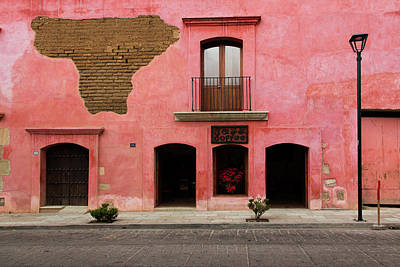 Photograph - Colorful Pink Building With Coffee Shop by Dennis Walton