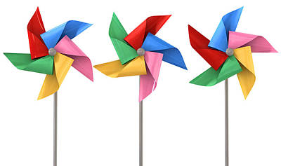 Display Digital Art - Colorful Pinwheels Isolated by Allan Swart