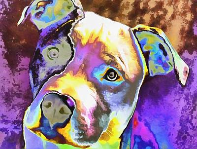 Colorful Pit Bull  Art Print by Dan Sproul