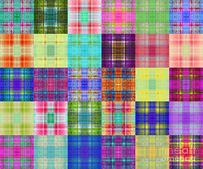 Diptych Digital Art - Colorful Plaid Diptych Panel 1 by Andee Design