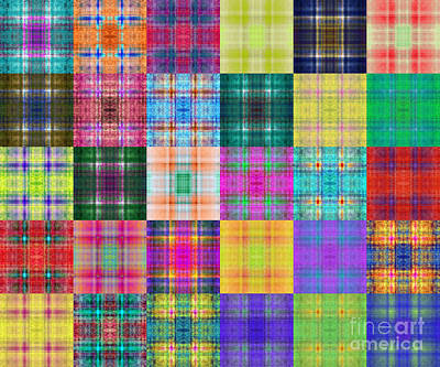 Digital Art - Colorful Plaid Diptych Panel 2 by Andee Design