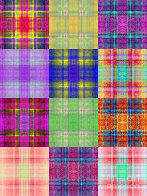 Triptych Digital Art - Colorful Plaid Triptych Panel 3 by Andee Design