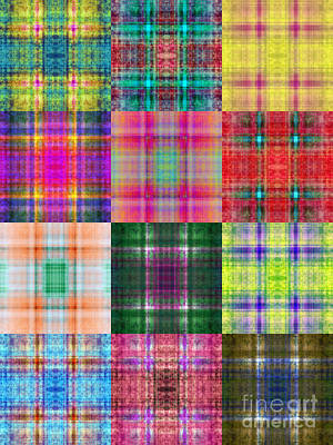 Digital Art - Colorful Plaid Triptych Panel 2 by Andee Design