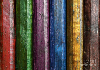 Weathered Wood Photograph - Colorful Poles  by Carlos Caetano