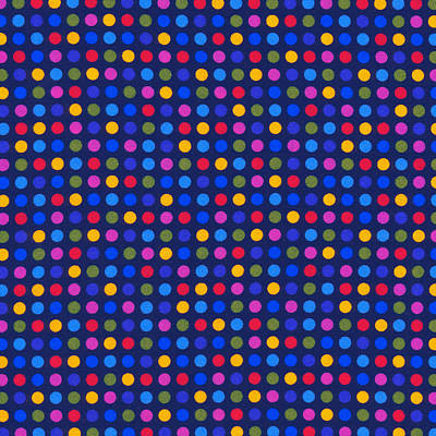 Colorful Polka Dots On Dark Blue Fabric Background Art Print