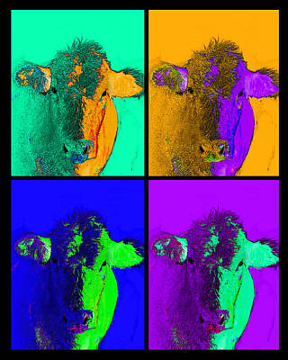 Photograph - Colorful Pop Art Cows Art by Ann Powell