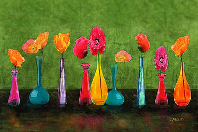 Still Life Digital Art - Colorful Poppies by J Marielle