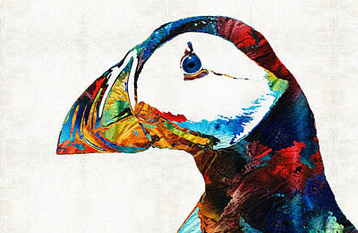 Sea Birds Painting - Colorful Puffin Art By Sharon Cummings by Sharon Cummings