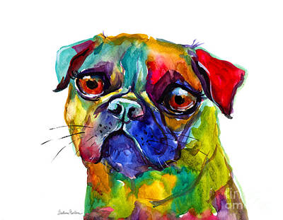 Watercolor Pet Portraits Wall Art - Painting - Colorful Pug Dog Painting  by Svetlana Novikova