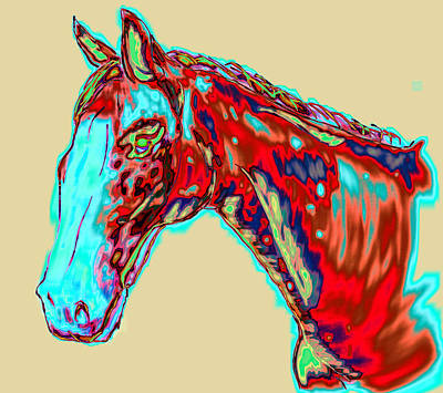 Pretty Cowgirl Painting - Colorful Race Horse by Mark Moore