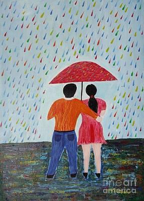 Colorful Rain Print by Jnana Finearts