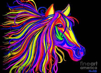 Rainbow Horses Drawing - Colorful Rainbow Horse Head by Nick Gustafson