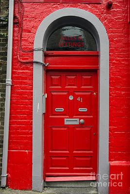 Colorful Red Door On Red Wall Art Print