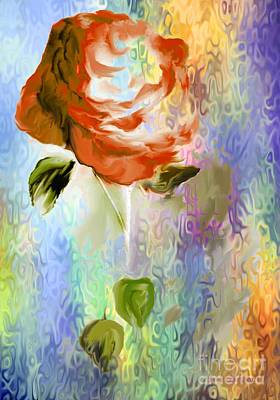 Painting - Colorful Red Rose  by Annie Zeno