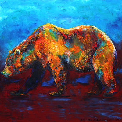 Painting - Colorful Reflections Bear Painting by Jennifer Godshalk