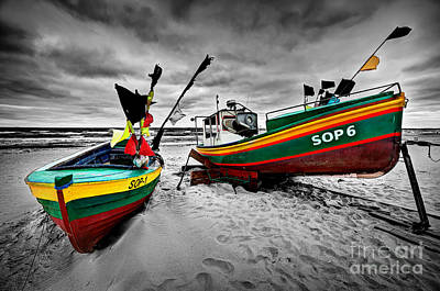 Wooden Photograph - Colorful Retro Ship Boats On The Beach by Michal Bednarek