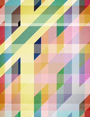 Colorful Retro Stripes Collage Art Print by Phil Perkins
