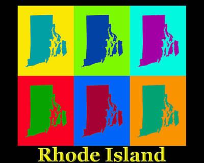State Of Rhode Island Digital Art - Colorful Rhode Island Pop Art Map by Keith Webber Jr