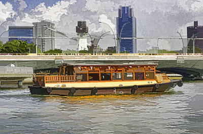 Colorful River Cruise Boat In Singapore Next To A Bridge Art Print